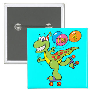 4th Birthday Dinosaur Button