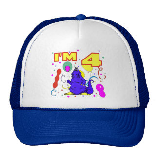 4th Birthday Dinosaur Birthday Cap