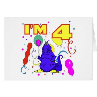 4th Birthday Dinosaur Birthday Greeting Card