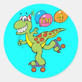 4th Birthday Dinosaur Classic Round Sticker