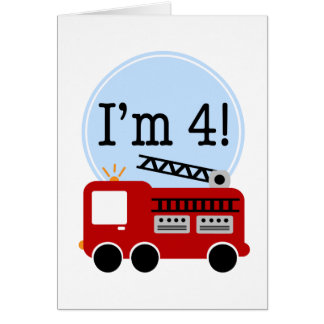 4th Birthday Fire Truck Greeting Card