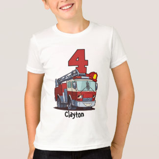 4th Birthday Fire Truck T-Shirt