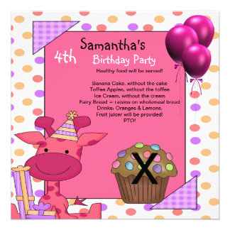 4th Birthday Food Giraffe Cupcake Balloons Pink Invitation