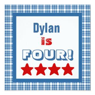 4th Birthday Four Year Old BLUE PLAID Boy V07 13 Cm X 13 Cm Square Invitation Card
