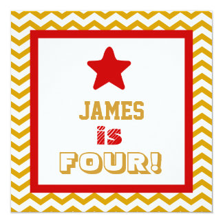 4th Birthday Four Year Old Square Frame Red Star 13 Cm X 13 Cm Square Invitation Card