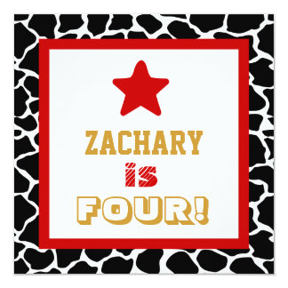 4th Birthday Four Year Old Square Frame Red Star 5.25x5.25 Square Paper Invitation Card