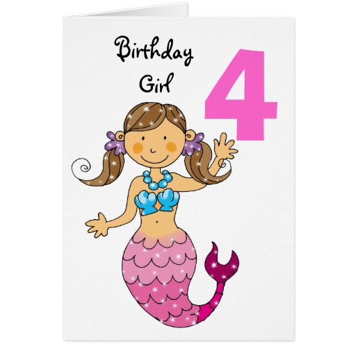 4th Birthday Gift For A Girl, Cute Mermaid