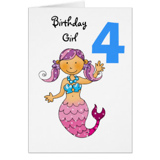 4th birthday gift for a girl, cute mermaid card