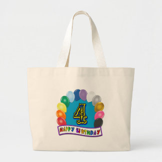 4th Birthday Gifts with Assorted Balloons Design Jumbo Tote Bag
