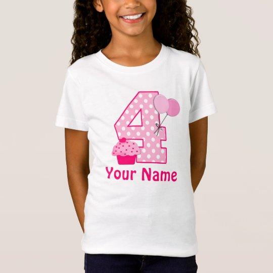 4th Birthday Girl Cupcake Personalised T-shirt