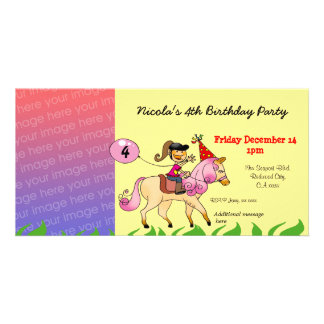 4th birthday girl party invitations (pink pony) personalised photo card