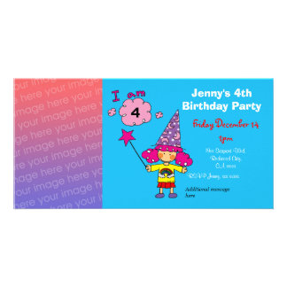 4th birthday girl party invitations wizard customized photo card
