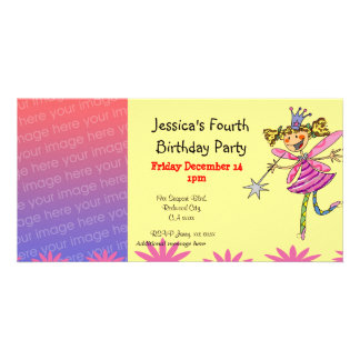 4th birthday girl party (princess fairy) picture card