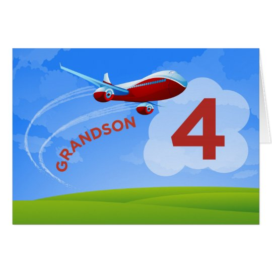 4th Birthday, Grandson, Red Aeroplane Card