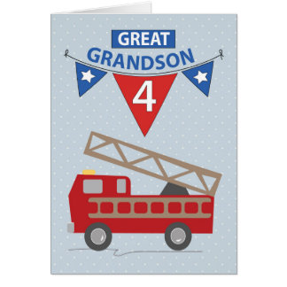 4th Birthday Great Grandson, Firetruck Card