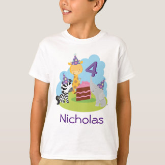 4th Birthday Jungle Animals Personalized Tshirt