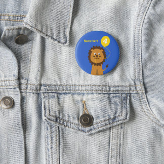 4th birthday lion add name blue 6 cm round badge