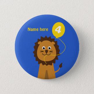 4th birthday lion add name blue 6 cm round badge