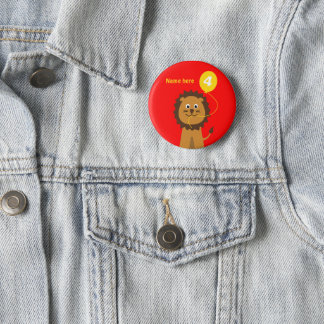 4th birthday lion add name red 6 cm round badge