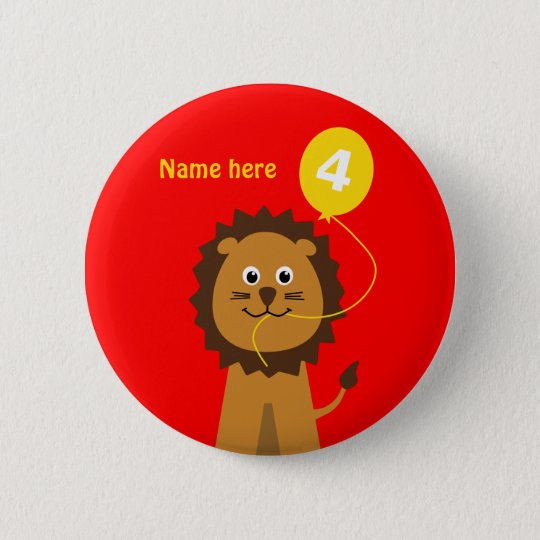 4th birthday lion add name red 6 cm