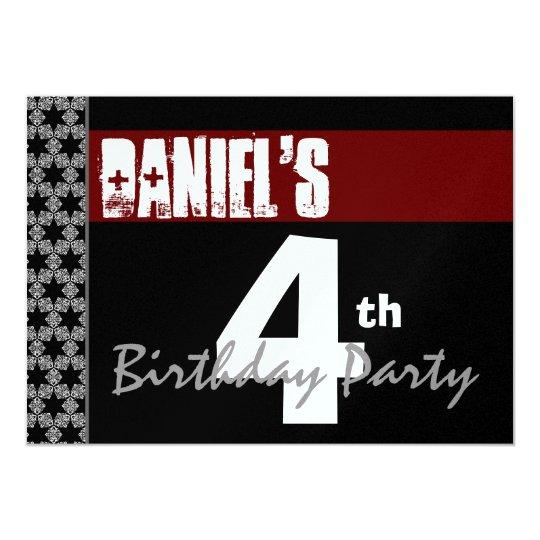 4th Birthday Modern Red White Black Metallic Y155 Card