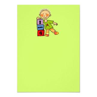 4th birthday party 13 cm x 18 cm invitation card