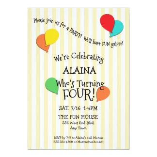 4th Birthday Party Add a Photo Balloons Invitation