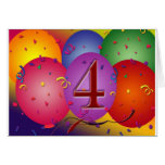 4th Birthday Party balloons Card
