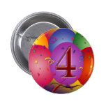 4th Birthday Party balloons Pin