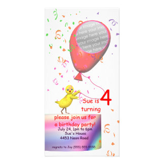 4th Birthday Party Chicken Invite Red Balloon Photo Greeting Card