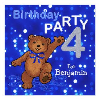 4th Birthday Party Dancing Teddy Bear Invitations