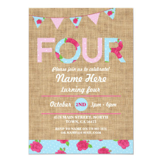 4th Birthday Party Four Burlap Rose Floral Invite