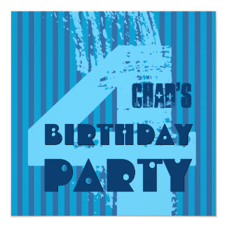 4th Birthday Party Grunge and Stripes Z04P 13 Cm X 13 Cm Square Invitation Card