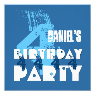 4th Birthday Party Grunge Four Year Old G04Z 13 Cm X 13 Cm Square Invitation Card