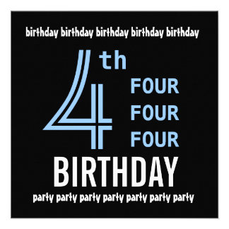4th Birthday Party Modern Blue and Black G205 Announcements