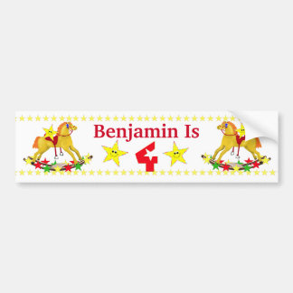 4th Birthday Party Rocking Horse Bumper Stickers