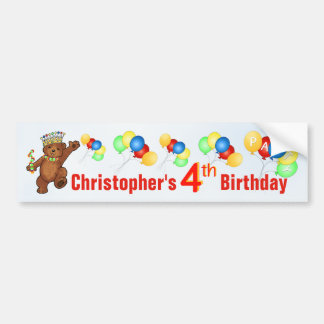 4th Birthday Party Teddy Bear Prince Car Bumper Sticker