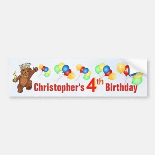 4th Birthday Party Teddy Bear Prince Bumper Sticker