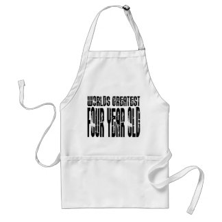 4th Birthday Party Worlds Greatest Four Year Old Adult Apron