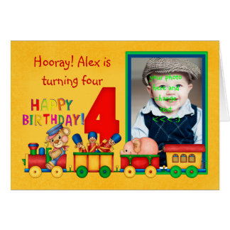 4th birthday photo card with toy train - toy train