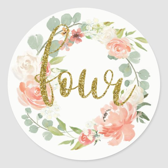 4th Birthday Pink Gold Floral Wreath Sticker