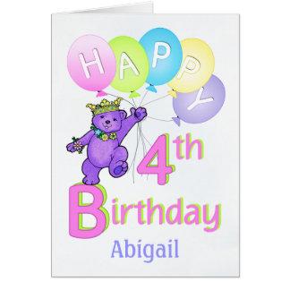 4th Birthday Princess Bear, Custom Name Greeting Card