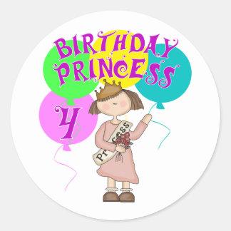 4th Birthday Princess Birthday Party Classic Round Sticker