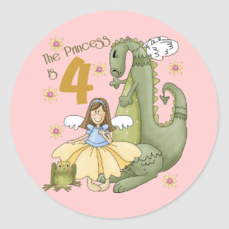 4th Birthday Princess Classic Round Sticker