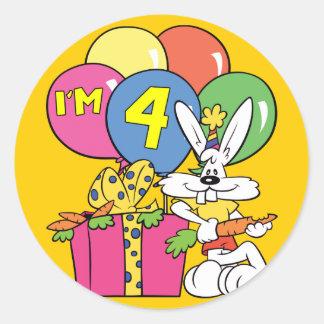 4th Birthday Rabbit Classic Round Sticker