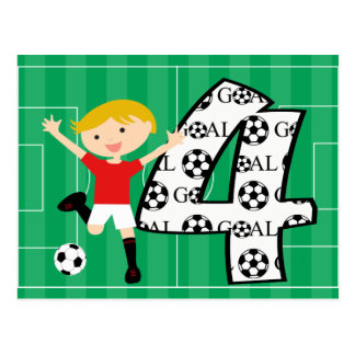 4th Birthday Red and White Soccer Goal Postcard