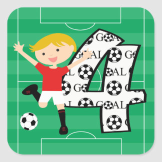 4th Birthday Red and White Soccer Goal Stickers