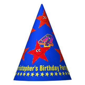 4th Birthday Red Smiley Stars Party Hat