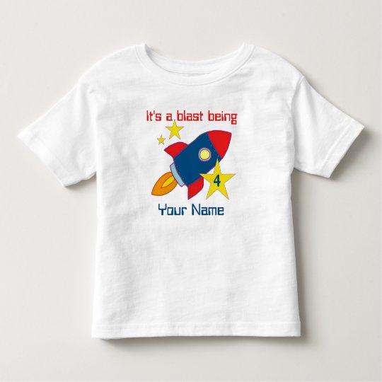 4th Birthday Rocket Ship Personalised T-shirt