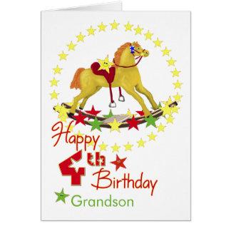 4th Birthday Rocking Horse Stars Card